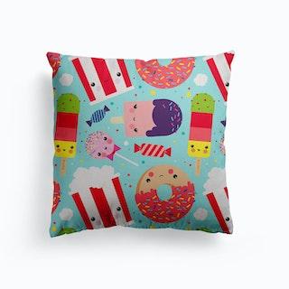 Ice Cream And Sweets Kawaii Pattern Canvas Cushion