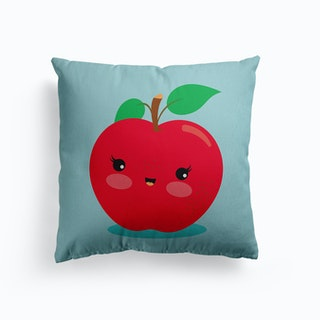 Nursery Kawaii Red Apple Canvas Cushion