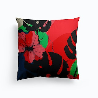 Flowers And Monstera Leaves Canvas Cushion