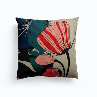 Flowers And Leaves Canvas Cushion