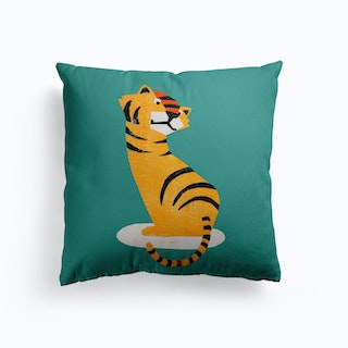 Tiger Illustration And Typography Canvas Cushion