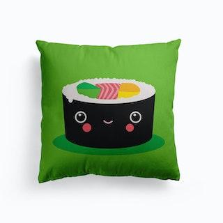 Happy Kawaii Sushi Maki Canvas Cushion