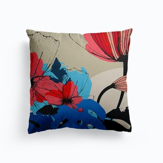 Flowers And Blue Monstera Leaves Canvas Cushion