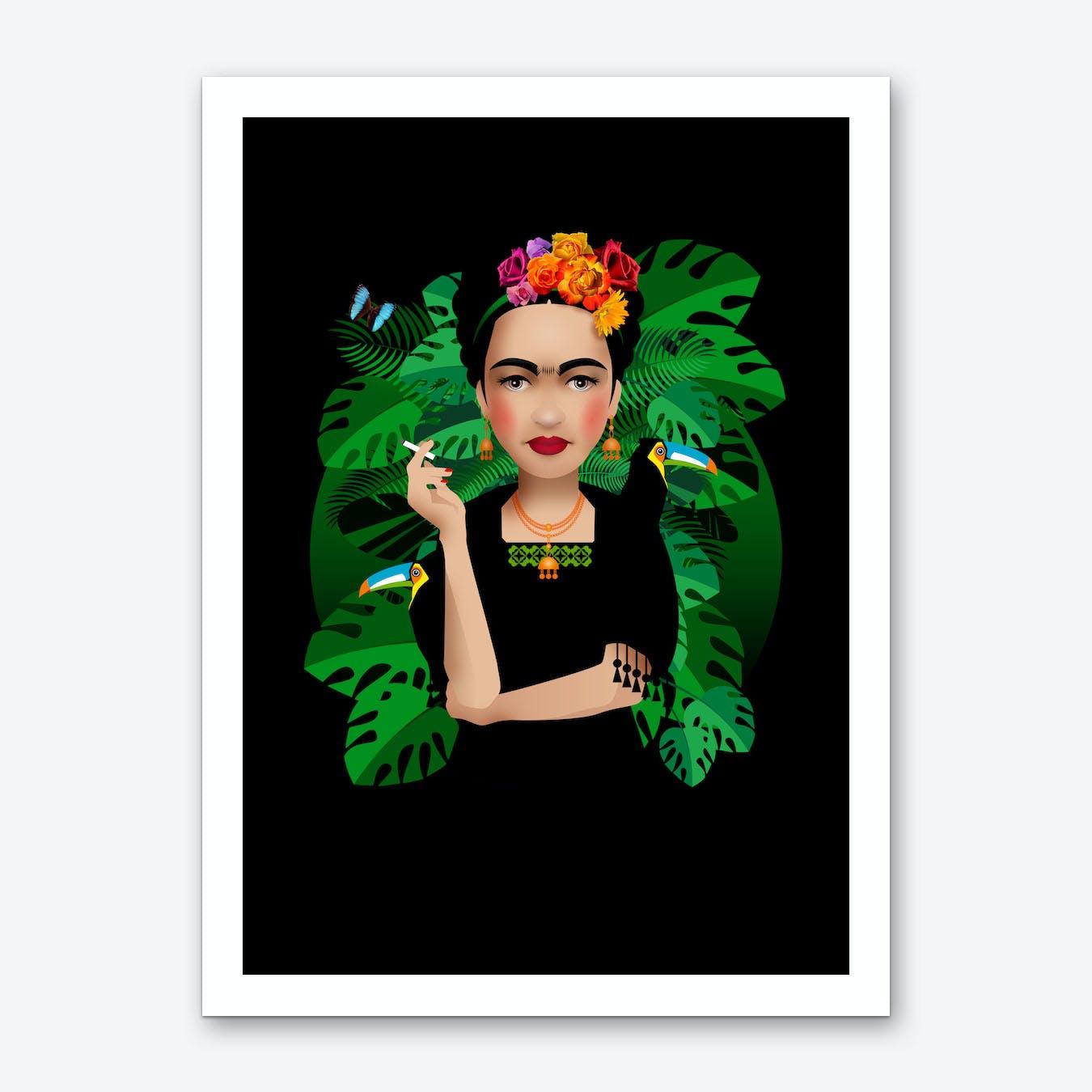 Frida Kahlo Black Art Print