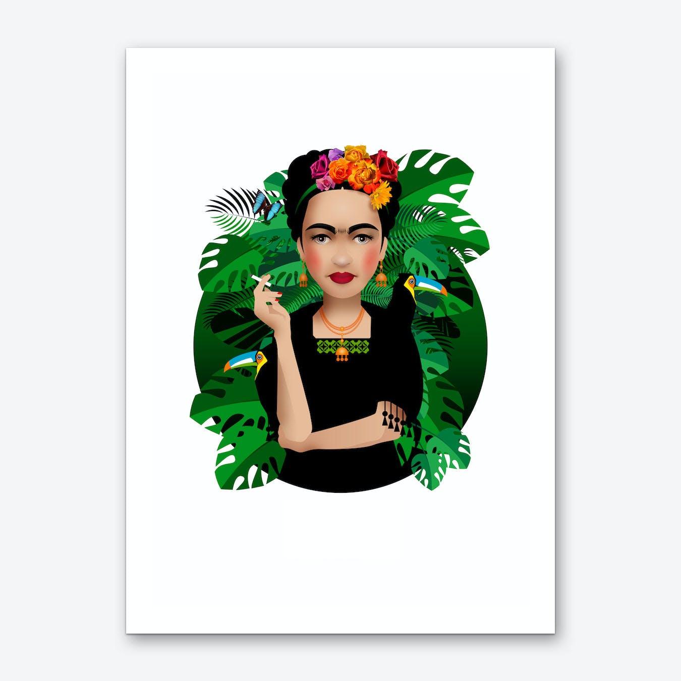 Frida Kahlo White Art Print