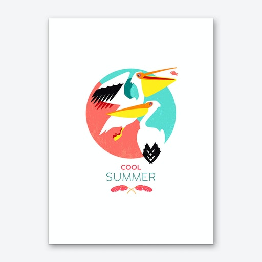 Summer Pelicans Art Print