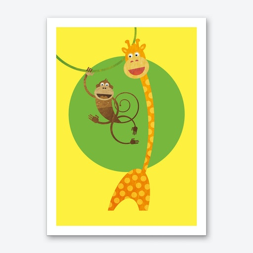 Friends Monkey and Giraffe Art Print