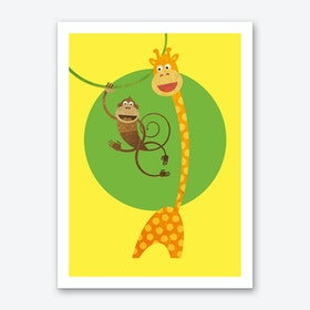 Friends Monkey and Giraffe Art Print