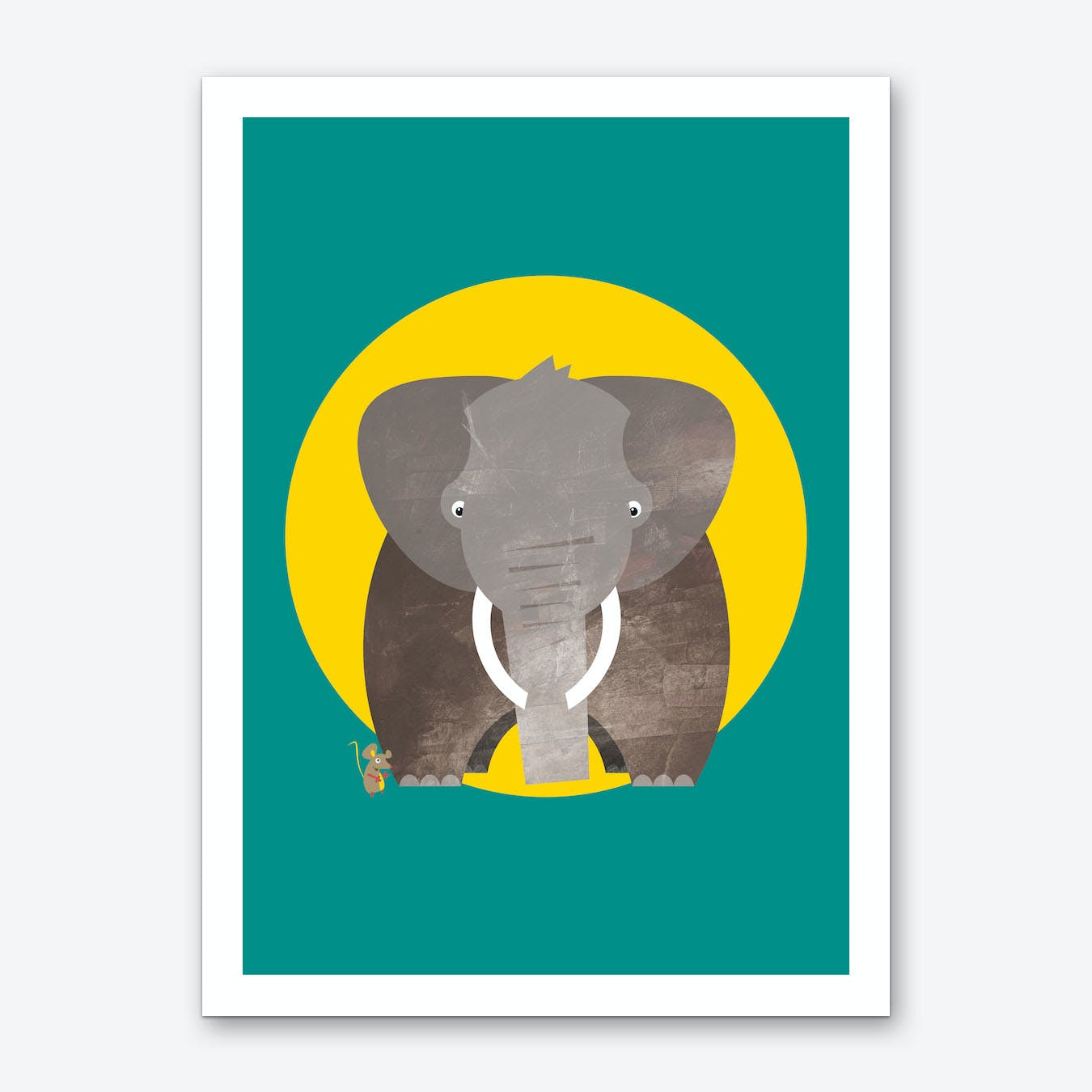 Friends Elephant and Mouse Art Print