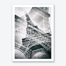 Eiffel Tower Double Exposure Art Print