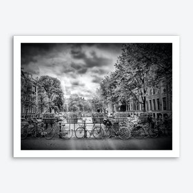 Amsterdam Typical Cityscape in monochrome Art Print