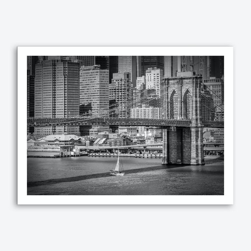New York City Brooklyn Bridge & East River Art Print