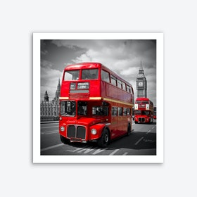 London Red Buses on Westminster Bridge Art Print