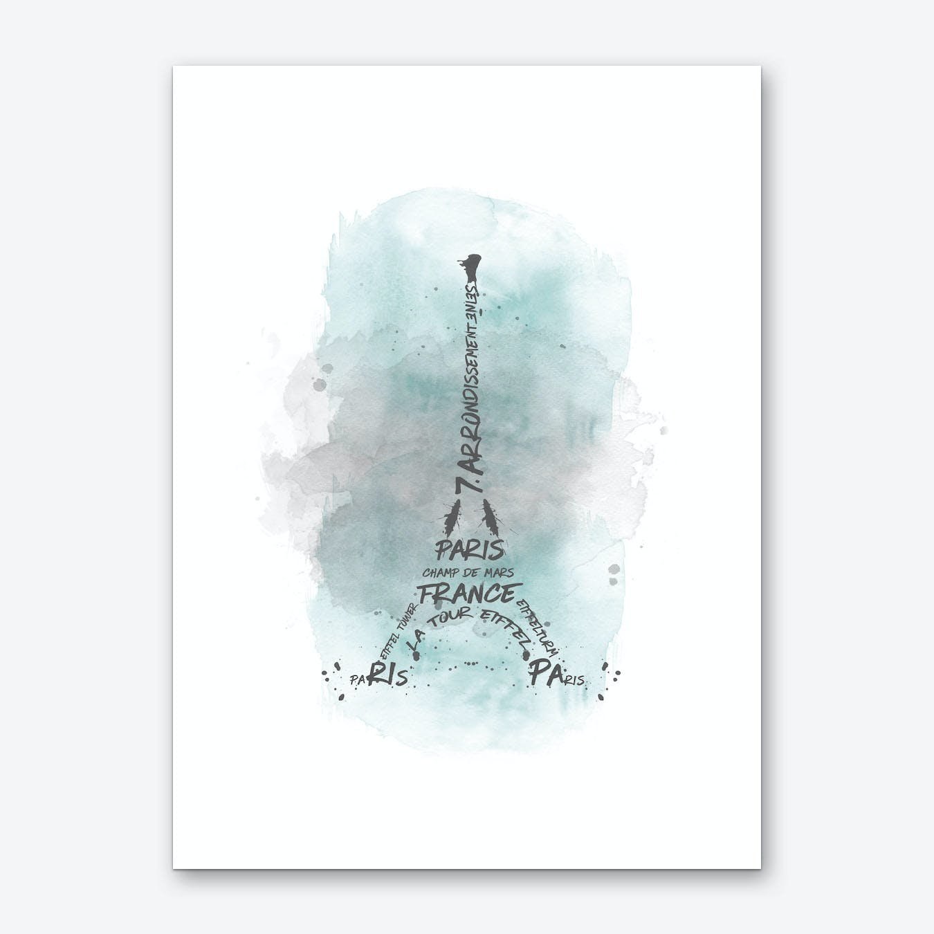 Watercolor Art Eiffel Tower - Turquoise Art Print
