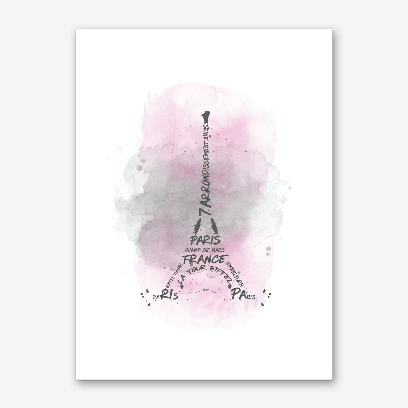Watercolor Art Eiffel Tower - Pink Art Print