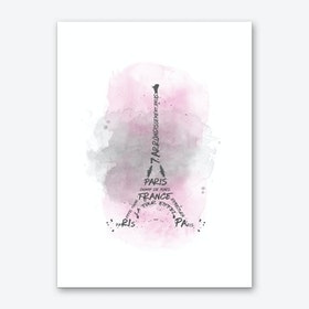 Watercolor Art Eiffel Tower - Pink Art Print