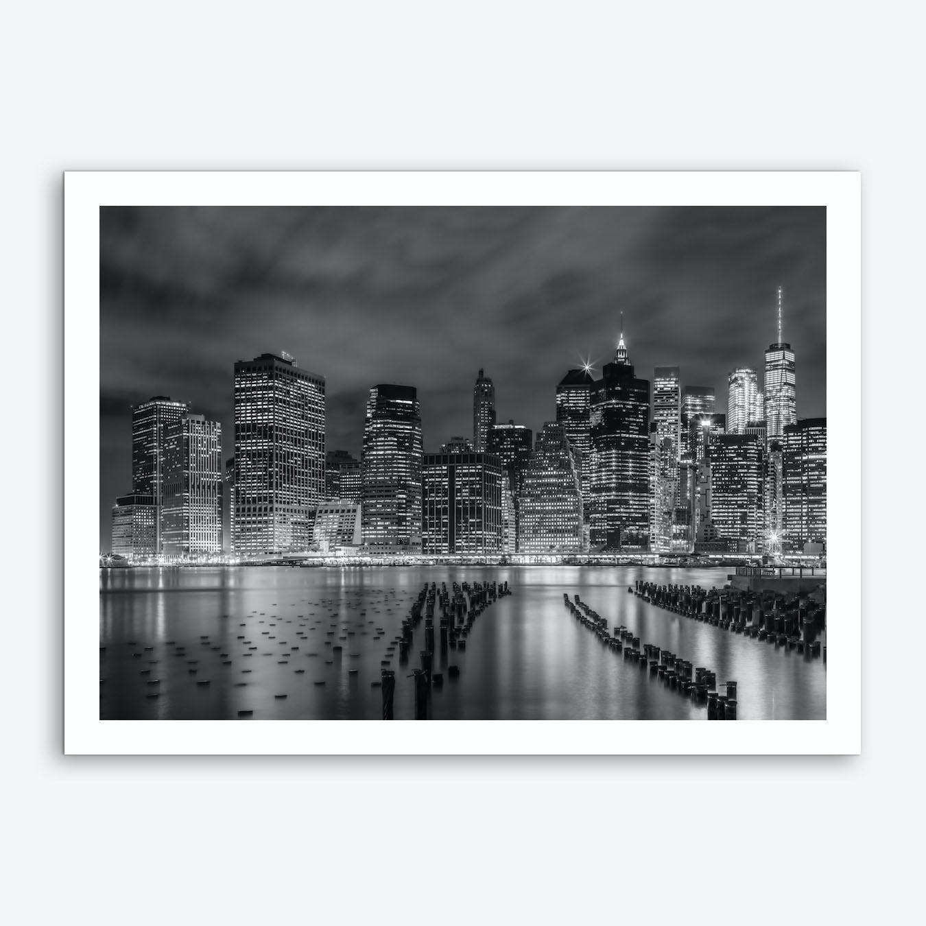 New York City Monochrome Night Impressions Art Print