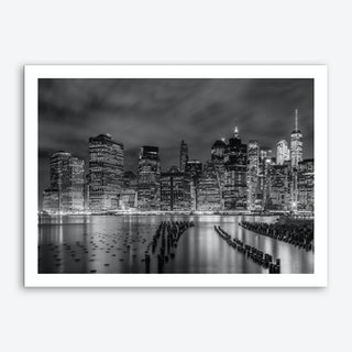 New York City Monochrome Night Impressions Art Print