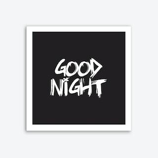 Good Night Square (Black) Art Print