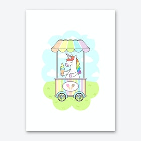 Unicorn Ice Cream Art Print