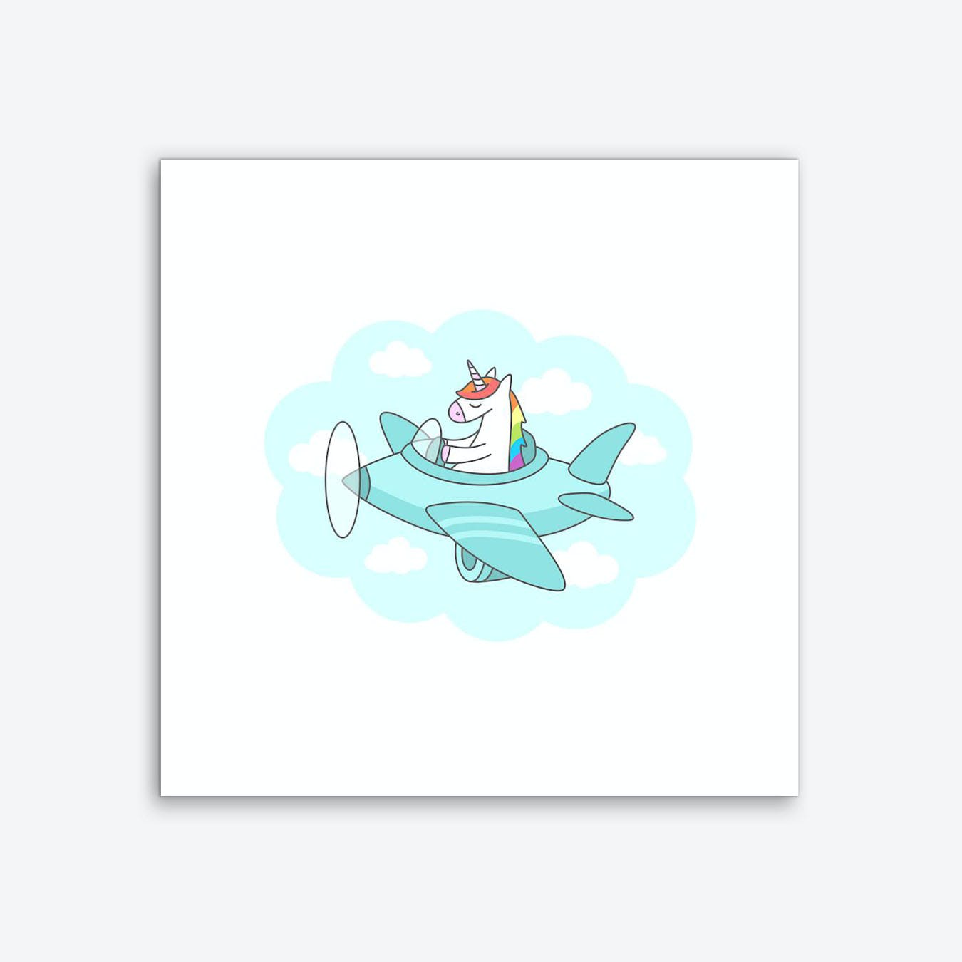 Unicorn Plane Art Print