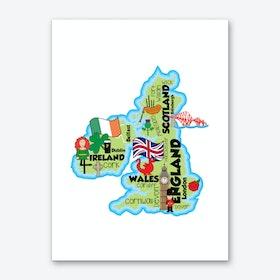 UK Map Art Print