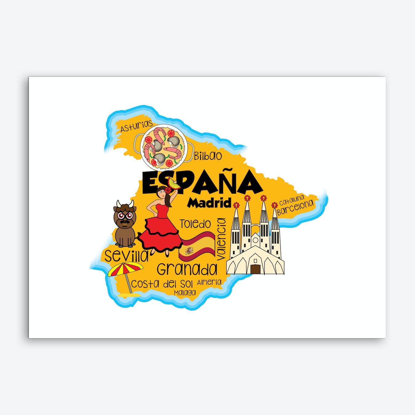 Map Of Spain For Printing.Spain Map Art Print