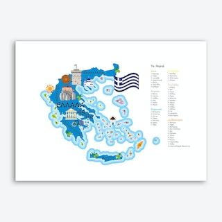 Greece Map Art Print