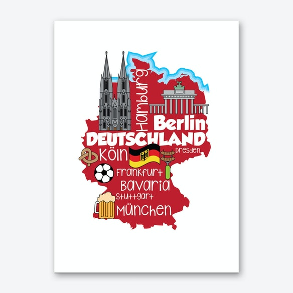 Cartoon Map Of Germany.Germany Map Art Print By Icklelingo Fy