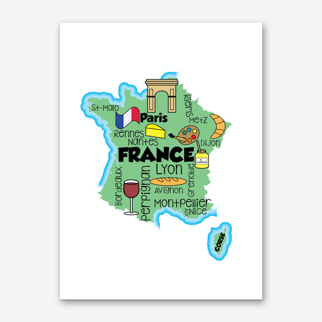 Map Of France To Print.France Map Art Print
