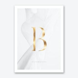 Letter B Gold Art Print