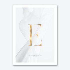 Letter E Gold Art Print