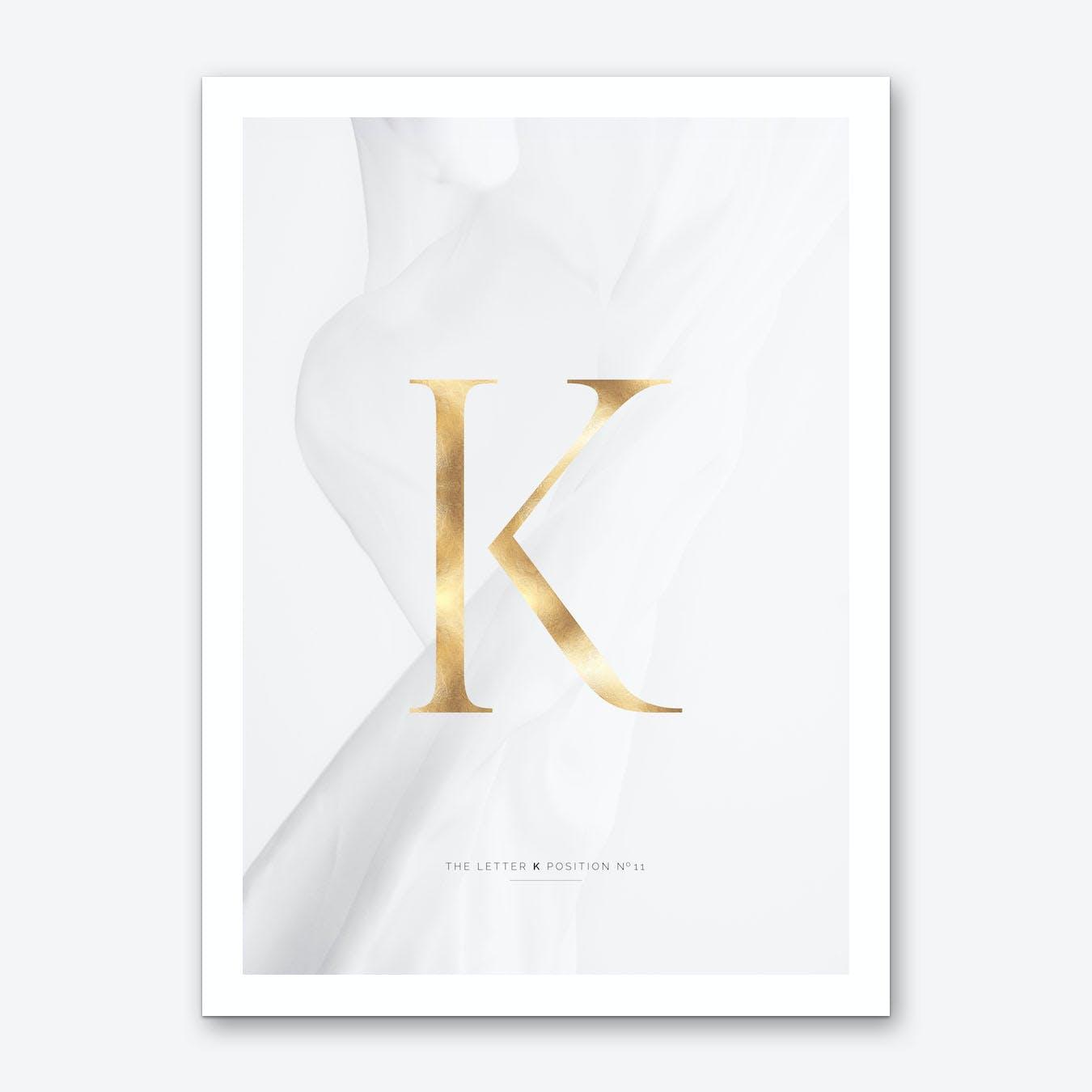 Letter K Gold Art Print