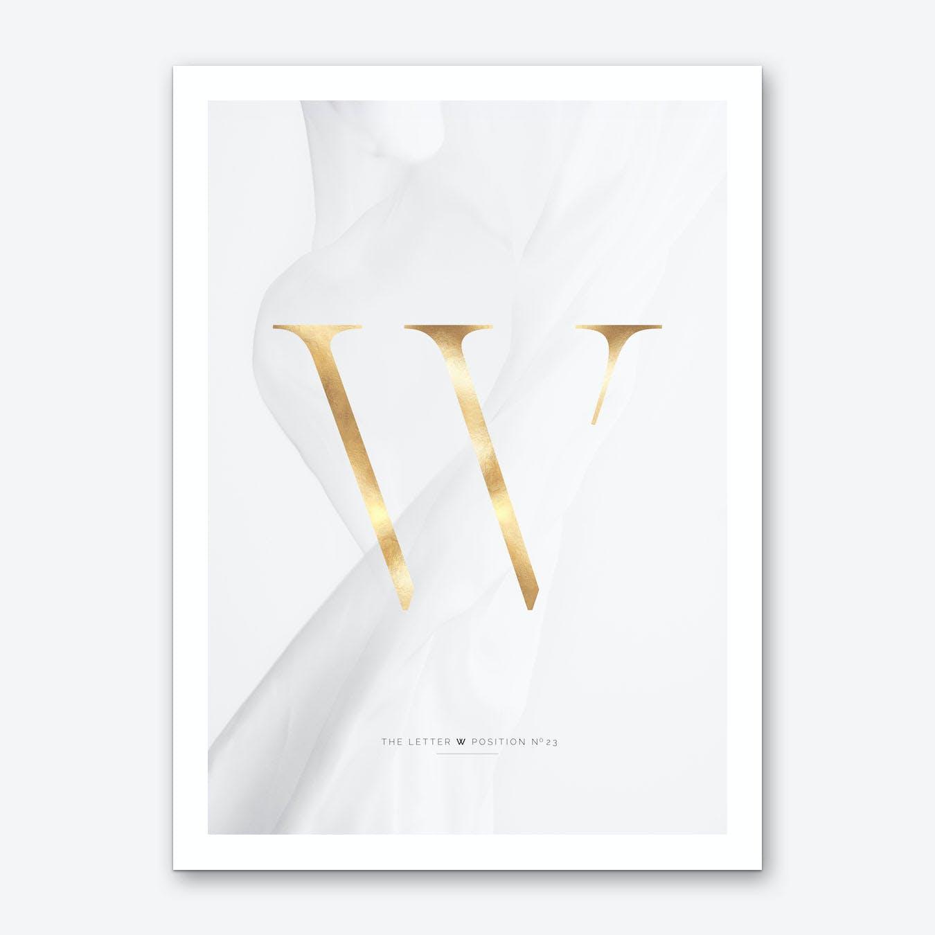 Letter W Gold Art Print