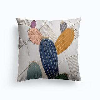 Golden Cactus Canvas Cushion