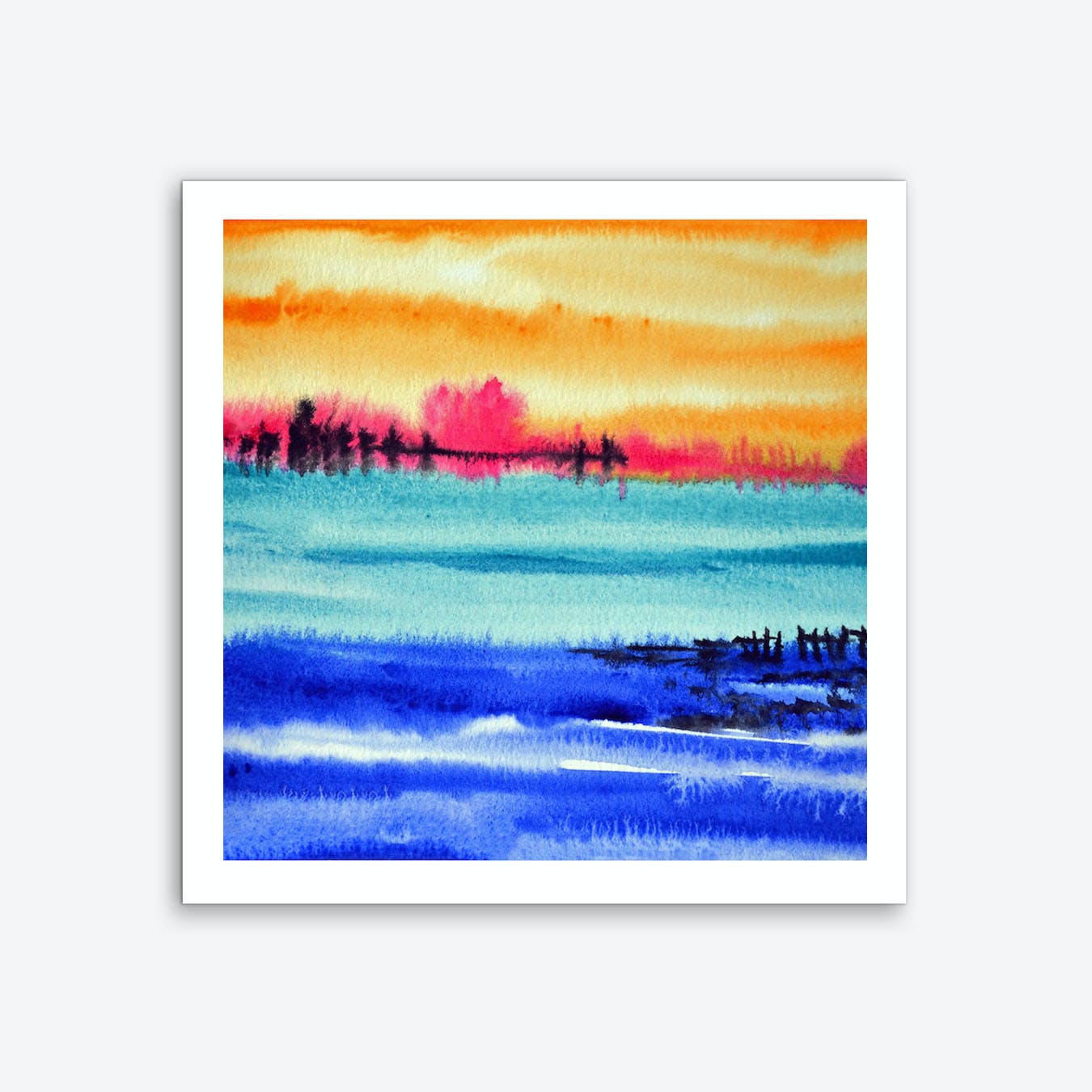 Sunset at Lake Art Print