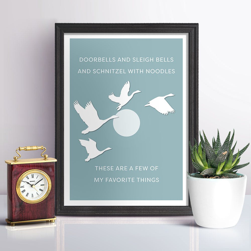 My Favourite Things in Duck Egg Blue Art Print