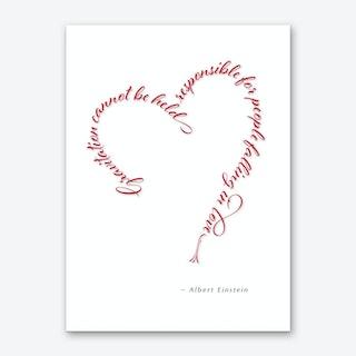 Einstein Love Quote Red Art Print