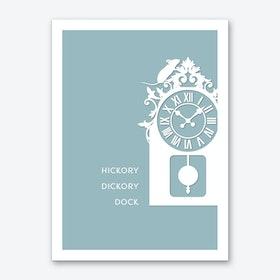 Hickory Dickory Dock in Duck Egg Blue Art Print