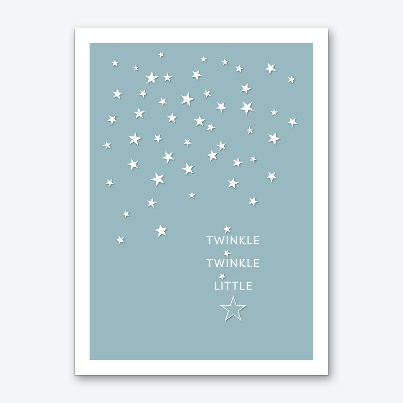 Twinkle Twinkle in Duck Egg Blue Art Print