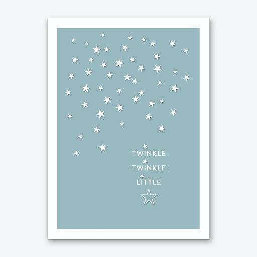 Twinkle Twinkle in Duck Egg Blue Art Print