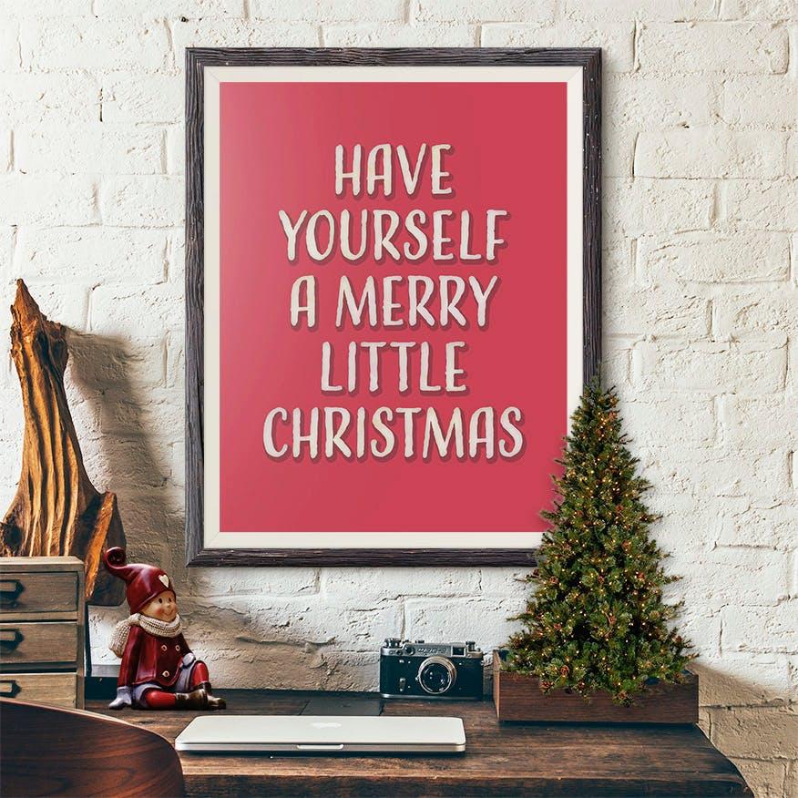 Merry Litte Christmas Retro Art Print