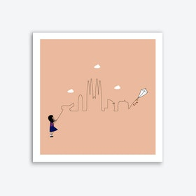 Barcelona Skyline Kite Art Print