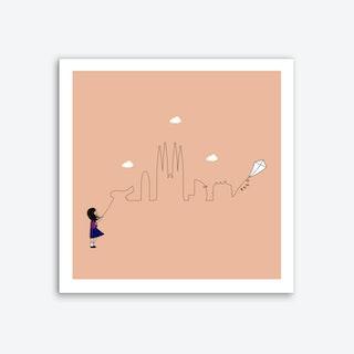 Barcelona Skyline Kite Art Print