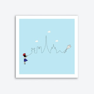 Paris Skyline Kite Art Print