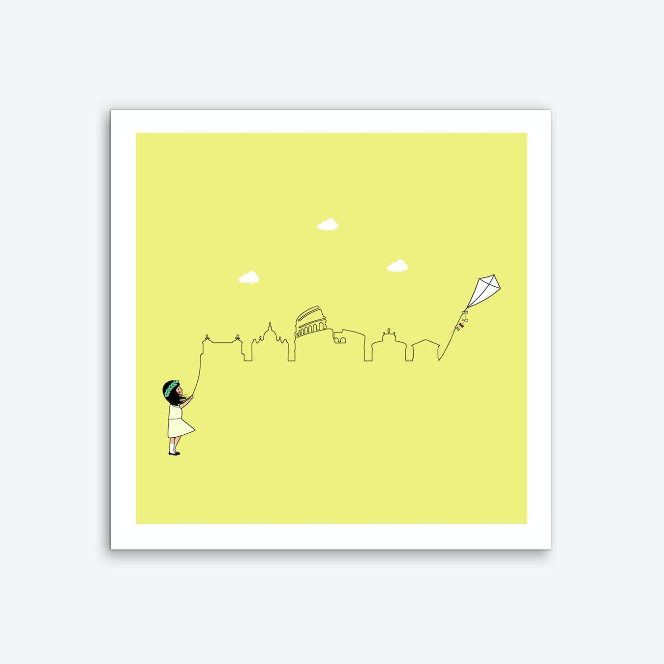 Rome Skyline Kite Art Print