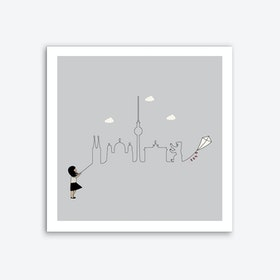 Berlin Skyline Kite Art Print