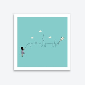 Birmingham Skyline Kite Art Print