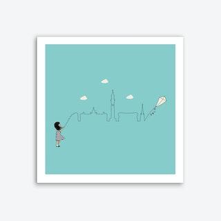 Birmingham Skyline Kite Art Print