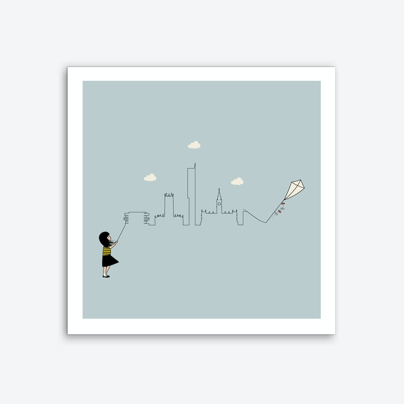 Manchester Skyline Kite Art Print